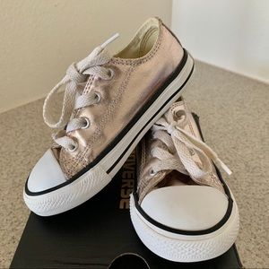 Girls Converse All Star in Metallic Rose Gold